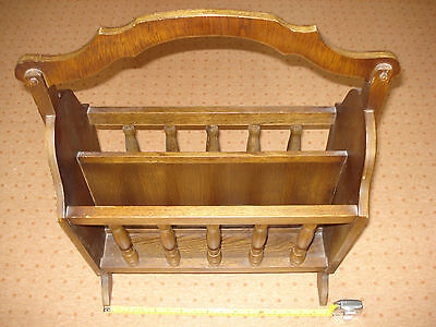 Large Oak Wood Magazine Book Rack Antique Vintage handmade Case storage