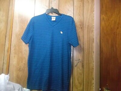 Pre-Owned Mens Abercrombie & Fitch Muscle V Neck T-Shirt-Blue-Sz L
