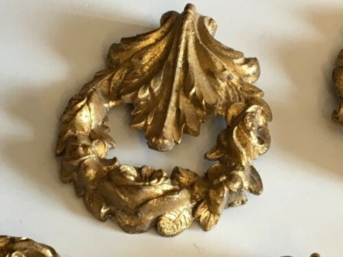 Antique French Gold Metal Medallions Ornaments Set of Five