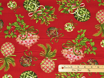 Holiday Flair Holly & Ornaments on Red Christmas Fabric by the 1/2 Yard  #3782](Christmas Fabric)