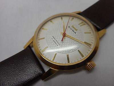 vintage hmt sona gold plated hand winding men super slim india watch run K3