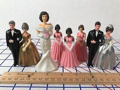 Wedding Cake Topper Lot 6 vtg Figurines 25th 50th Anniversary China Plastic  g3 - 50th Anniversary Cake Topper