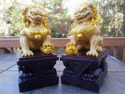 """1Pair Chinese Feng Shui Foo Dogs Statue Lucky Wealth Figurine Gift & Home 18""""H"""