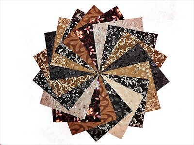 """50 4"""" Quilting Fabric Squares Neutrals Shades of Brown & Black /Beautiful!!"""
