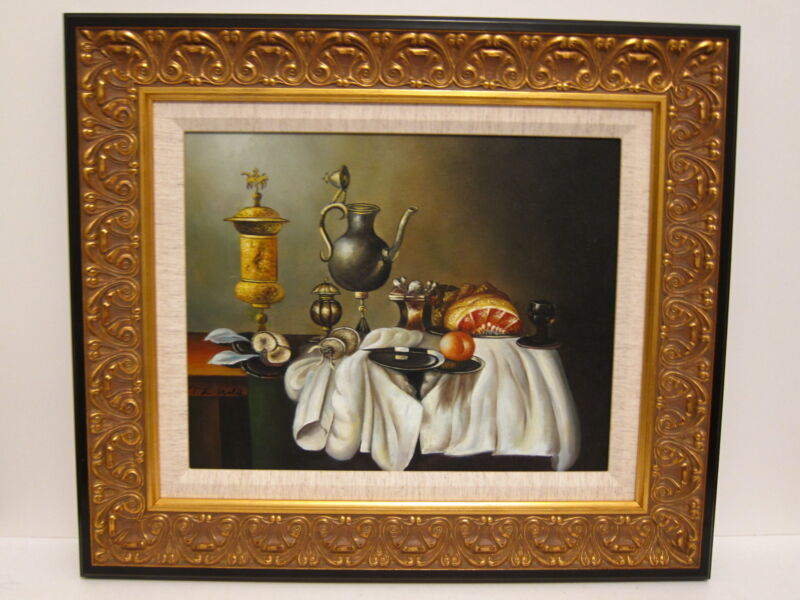 New Original Traditional Still Life Oil Painting Custom Ornate Gold Black Frame