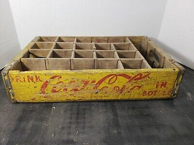 Vintage Coca-Cola Wooden Coke Yellow Soda Pop Crate Carrier Box case wood (13)