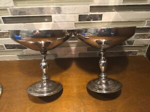 Set of 2 Silverplate Champagne Goblets from Spain