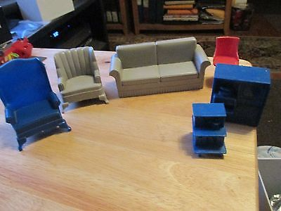 Vintage 1960s MARX Dollhouse Furniture  Couch  Armchair TV end table