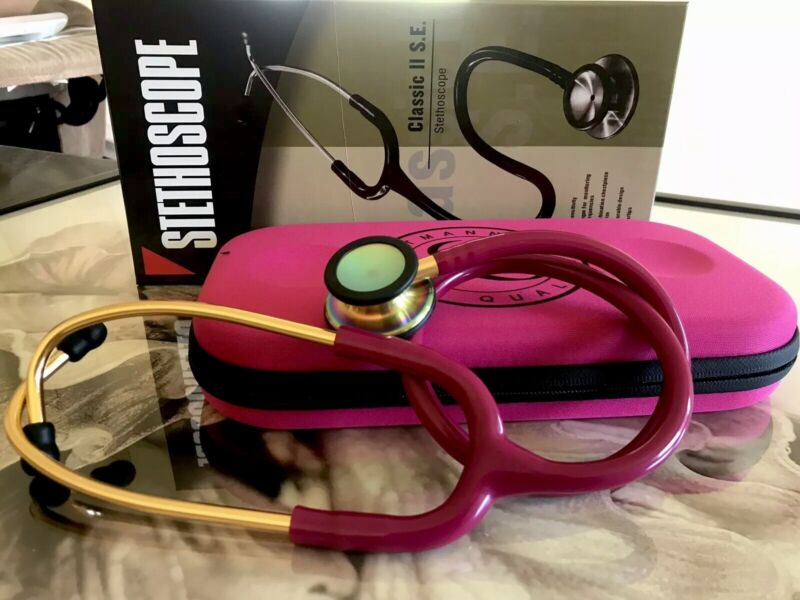 Raspberry Cardiology Dualhead Stethoscope & Stethoscope (case littmann logo only