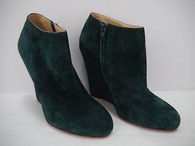 CHRISTIAN LOUBOUTIN Belle Zeppa green suede wedge heel booties boot 40 worn once
