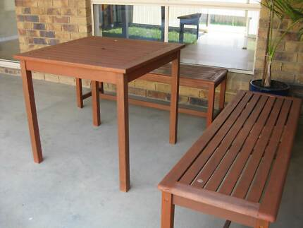 Wooden outdoor table & bench seats Wavell Heights Brisbane North East Preview