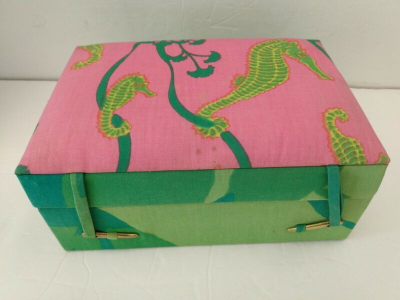 Star of Siam Jewelry Box Vintage Seahorses Colorful W/ Brass Fastener Pin 9x6x4