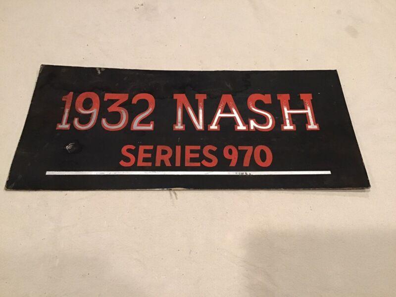 VTG ORIGINAL 1932 NASH SERIES 970 CAR SIGN BOARD ORANGE SILVER BLACK