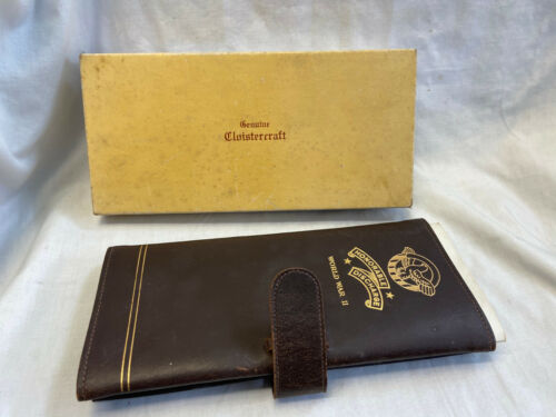 Vtg WWII Honorable Discharge Leather Paper Holder F.O.E W/ Box & Discharge Paper