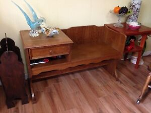 Vintage Solid Oak Bench With Drawer