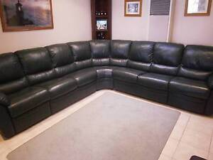 Leather Corner Sofa Recliners - Olive Green - Excellent Condition Warwick Joondalup Area Preview