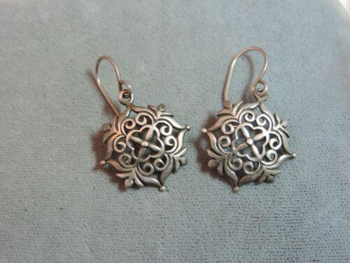 Sterling Silver Snowflake Hex symbol Dangle Pierced Hook Earrings Ci 5