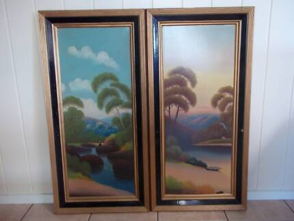 Pair of Victorian Naive Oil Paintings , pick up in Geelong