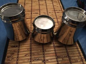 3 New Silver Colour Pillar Candle Holders