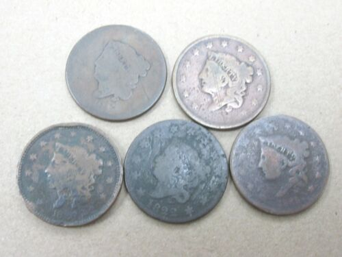 Lot of 5 Cull Coronet Large Cents Mixed Dates Q2HZ