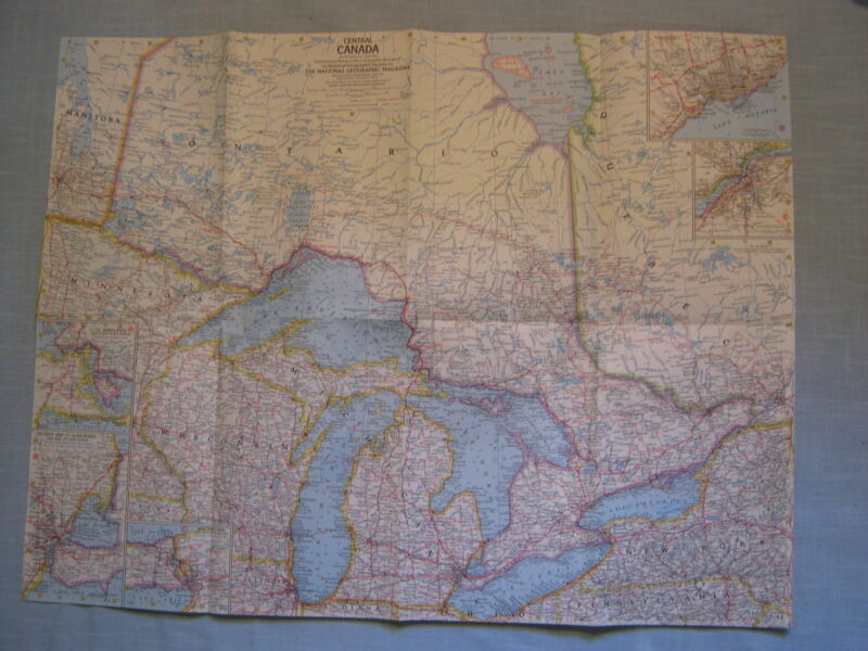 VINTAGE CENTRAL CANADA MAP National Geographic July 1963 MINT
