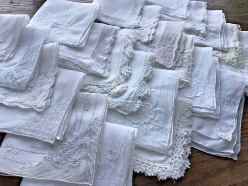 A+ Vintage Lot 24 White Hankies Hand Machine Embroidery Lace Wedding Bride