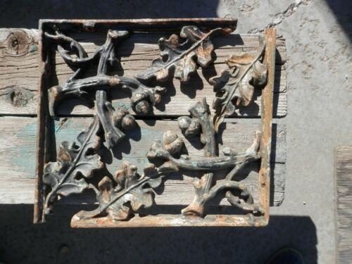 "2 Vintage Architecture Cast Iron Ornate Shelf Brackets Oak Leaf Acorn 12¼""x 12¼"""