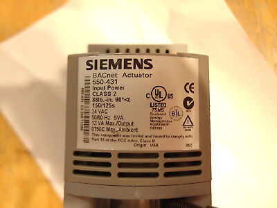 Siemens Bacnet Actuator 550-431 Bacnet Actuator Cd