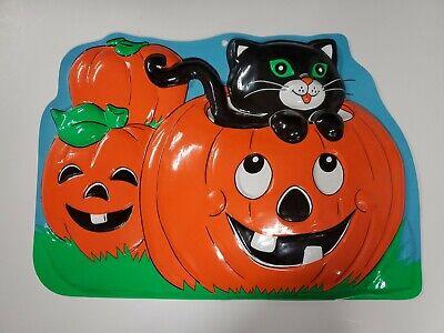 Vintage 3D Plastic Blow Mold Pumpkins Black Cat Jack o Lantern Wall Hanging