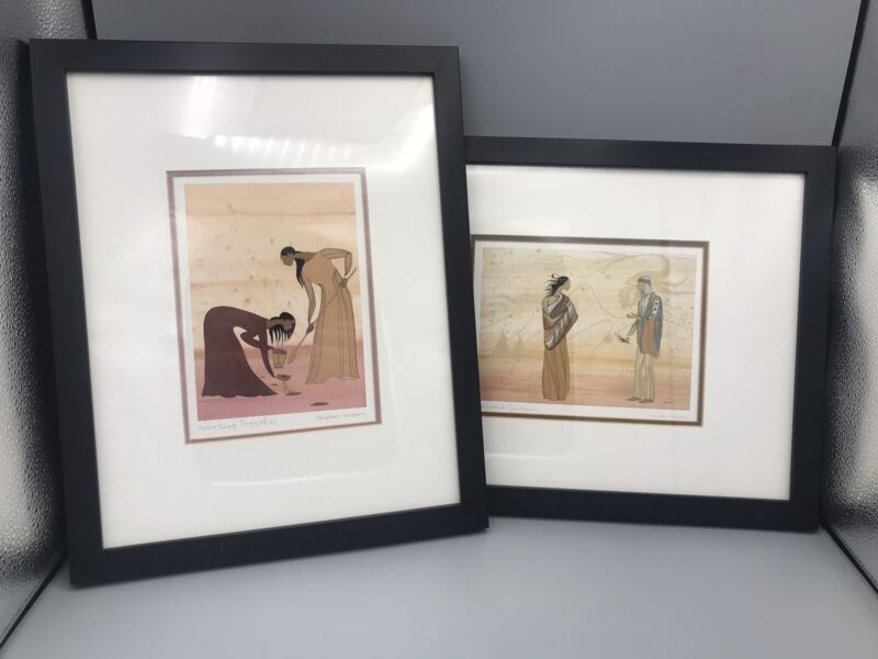 Lot of 2 Framed Maxine Noel (Ioyan Mani) Sioux Native American Signed Art Prints