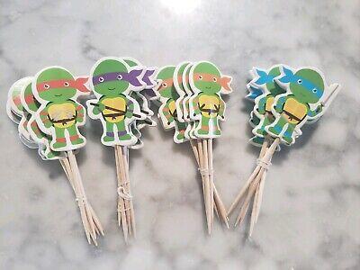 Ninja Turtle Cupcake (TMNT Teenage Mutant Ninja Turtle Cupcake Toppers Kids Birthday 24pc)