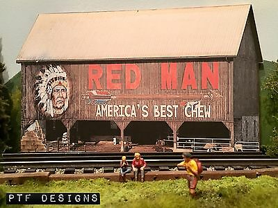 """* O Scale Scratch Built """"RED MAN BARN"""" Farm Building Front/Flat, MTH Lionel *"""