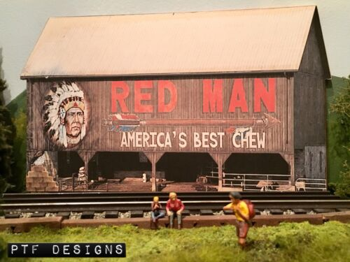 "S Scale Scratch Built ""RED MAN BARN"" Farm Building Front/Flat, Flyer American *"