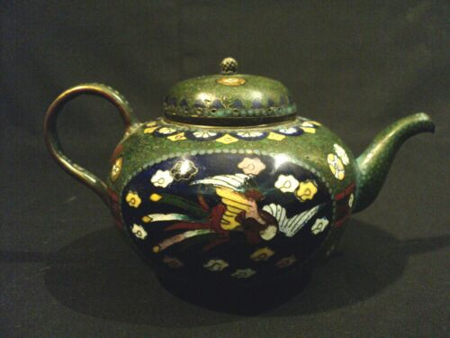 19th C. Chinese Cloisonne Enamel on Bronze Miniature Teapot, Phoenix