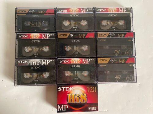 LOT of 10 TDK MP120/60 Hi8 Video Cassette Tape