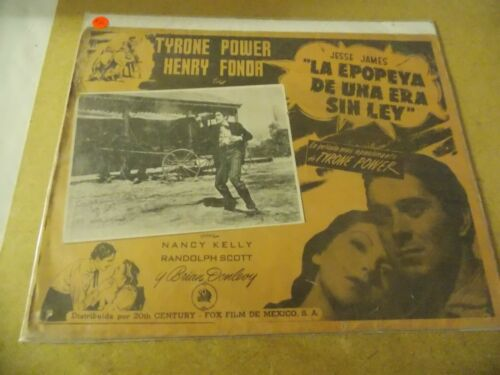 "JESSE JAMES(1939)TYRONE POWER ORIGINAL MEXICAN LOBBY CARD 12""BY16"" NICE!"
