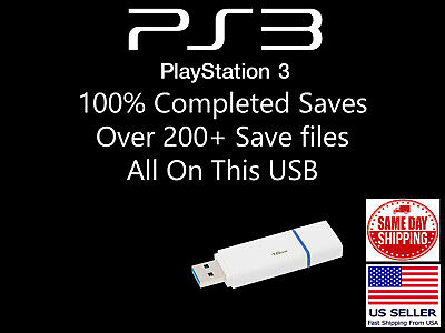 PlayStation 3 Unlocked USB Drive 200+ Save Files Complete PS3 Saves PS3