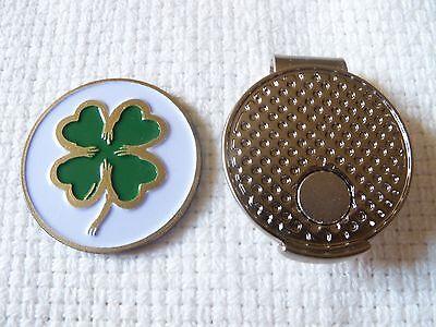 Premium Lucky Irish Four Leaf Clover Golf Ball Marker + Magnetic Hat Clip