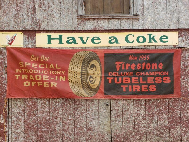 1955 Firestone Tires Banner Sign. Cloth. Original. 9.5ftx33in