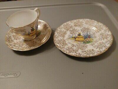 Vintage Tea Cup Saucer and Plate Bone China By Jane Ridge Burslem England