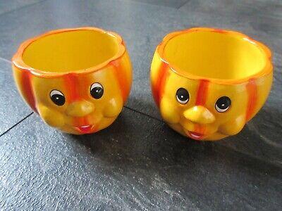 Übertöpfe (2) in Kürbisform mit lustigen Gesichtern / Keramik