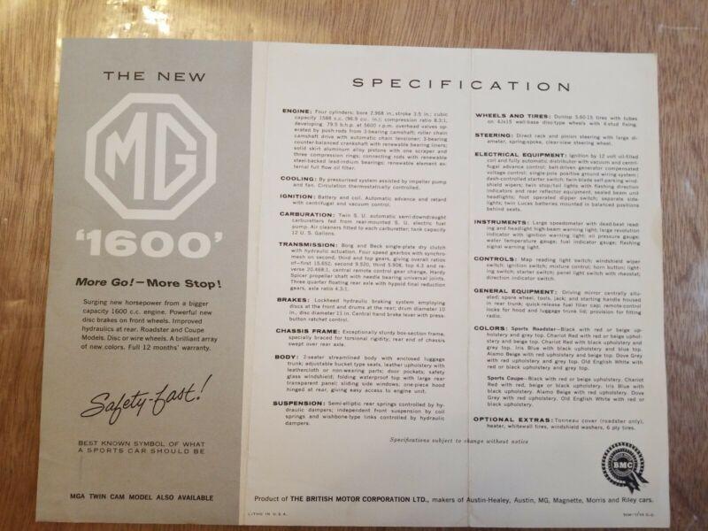 1960 MG 1600 car brochure