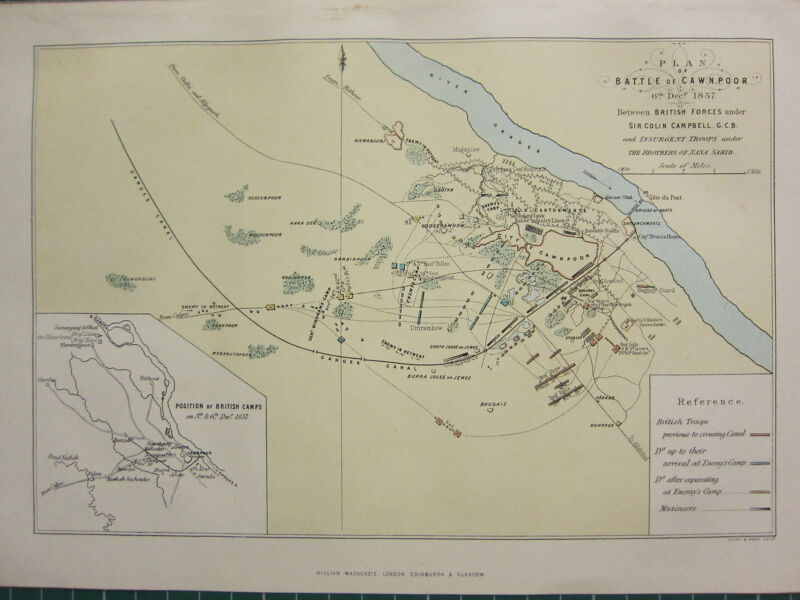1895 ANTIQUE MAP ~ PLAN OF BATTLE OF CAWNPOOR BRITISH FORCES CAMPBELL CAMPS