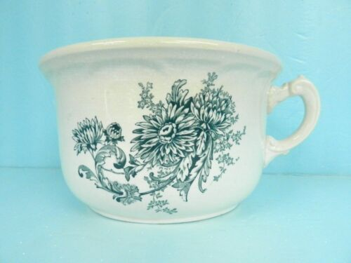 ANTIQUE CHAMBER POT LARGE Buffalo Pottery Semi Vitreous Chrysanthemum BLUE