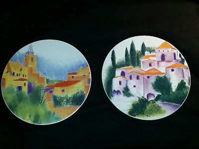 CERTIFIED Worldwide PROVENCE French Countryside Decorative Plates Set of 2