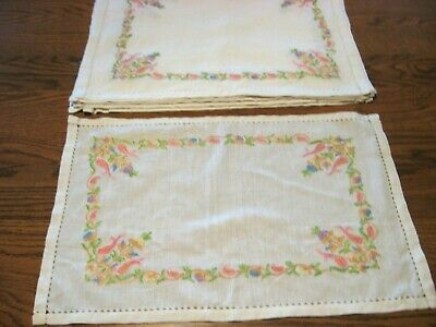 8 Vintage Ivory w/ Hand Chain Embroidery/Drawnwork Hemstitch Placemats/8 Napkins