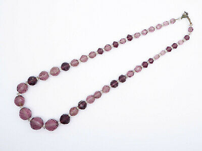 1930s Art Deco Style Jewelry Vintage C1930s Hand Knotted Faceted Purple Glass Beads Necklace $34.55 AT vintagedancer.com