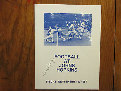JERRY  PFEIFER  Signed 1987 Johns Hopkins vs. Saint Peters Football Game Program