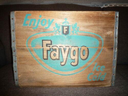 Vintage Enjoy Ice Cold FAYGO Soda Pop Wooden Crate ~ Detroit, Michigan ~ 1962