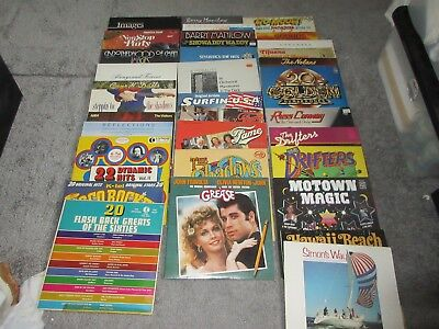 Job Lot Of 67 Vinyl LPs Various Artists Supplied In Two Record Cases.